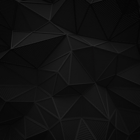abstract black low poly background hole mesh circle pattern 3d render. blank empty backdrop with copy space technology modern future business style concept.