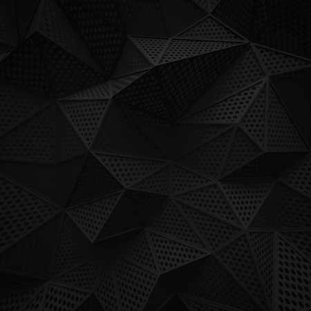 abstract black low poly background hole mesh hexagon pattern 3d render. blank empty backdrop with copy space technology modern future business style concept.