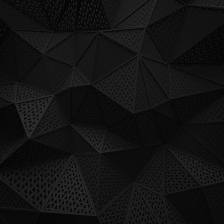 abstract black low poly background hole mesh triangle pattern 3d render. blank empty backdrop with copy space technology modern future business style concept. Imagens - 100436115