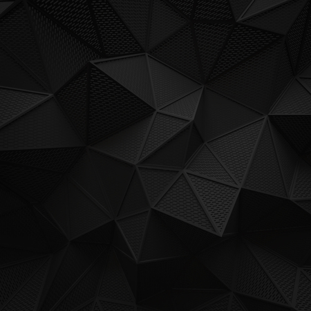 abstract black low poly background hole mesh. chamfer rectangular pattern 3d render. blank empty backdrop with copy space technology modern future business style concept. Imagens