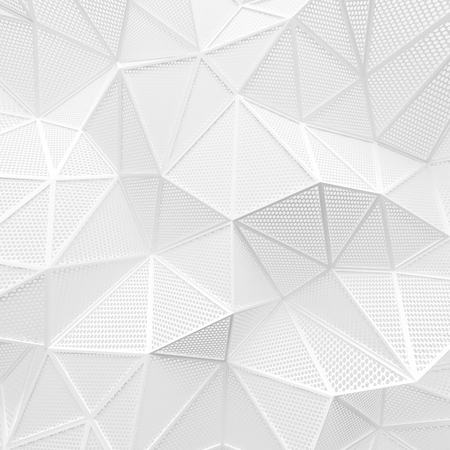 abstract white low poly background hole mesh circle pattern 3d render. blank empty backdrop with copy space technology modern future business style concept.