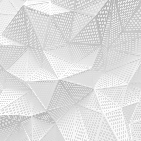 abstract white low poly background hole mesh hexagon pattern 3d render. blank empty backdrop with copy space technology modern future business style concept.
