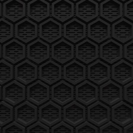 black dark hexagon background modern future concept pattern beehive wire mesh 3d render. Imagens