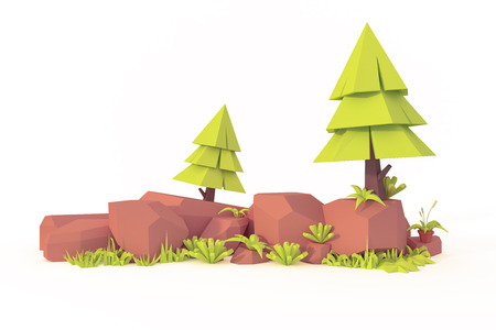 landscape low poly art  isolated tree and rock 3d render Imagens