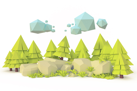 landscape forest valley rock isolatedlow poly art 3d render Imagens