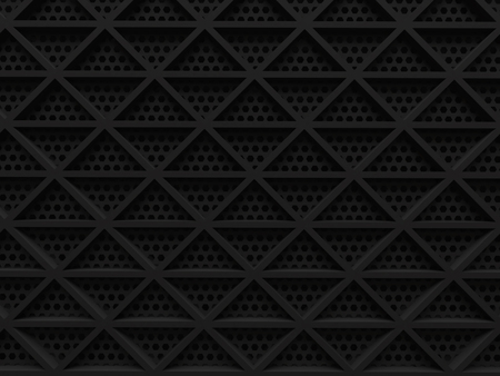 black dark shadow abstract grid triangle modern technology background 3d render. Imagens