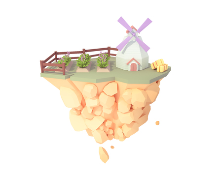 lavender field farm plantation and windmill low poly style 3d illustration. plant flower garden isolated floating island. Imagens