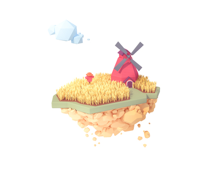 farmer wheat field with red windmill ready to harvest low poly style 3d illustration. rice food grain hay farm with scare crow isolated floating island.