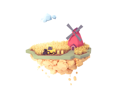farmer use combine harvester harvesting wheat crops autumn seasons low poly 3d illustration. floating isolated island farm.