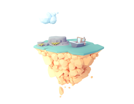 boat floating on ocean sea river low poly 3d illustration.water surface on floating isolated island.