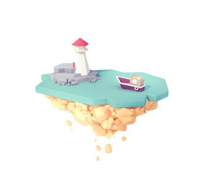 boat heading to big red lighthouse somewhere in floating island ocean sea low poly 3d illustration