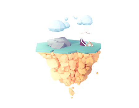 boat ship sinking 3d low poly illustration floating island. Imagens