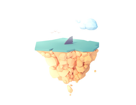 shark fin in the water warning zone low poly isolated island 3d illustration. 免版税图像