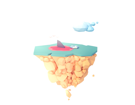 shark fin in the water attack people low poly isolated island 3d illustration. 免版税图像