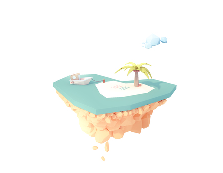 beach heart shapes paradise low poly 3d illustration isolated floating island. summer vacation travel tropical