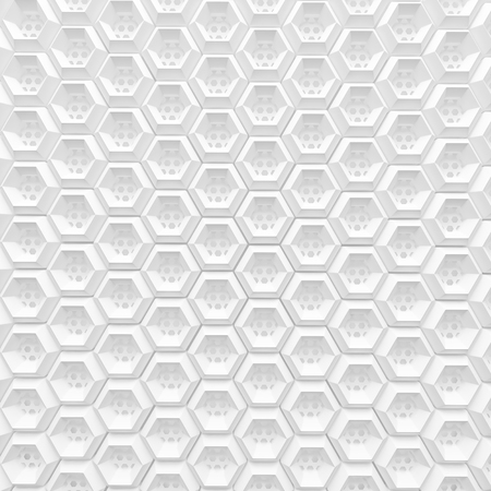 white hexagon grid background pattern with wire mesh hole 3d render