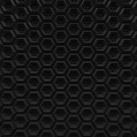black hexagon grid background pattern with wire mesh hole 3d render Imagens