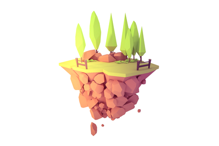 floating island isolated landscape 3d low poly art illustration.