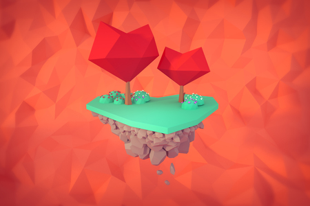 valentine love tree on the heart shape isolated floating island love concept low-poly 3d illustration.