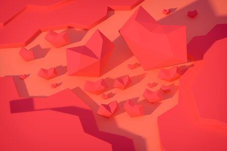 heart low poly valentine card background 3d render.