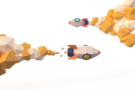 rocket lunch to space background  investment business stock money crypto currency market profit concept low poly cartoon style 3d render.