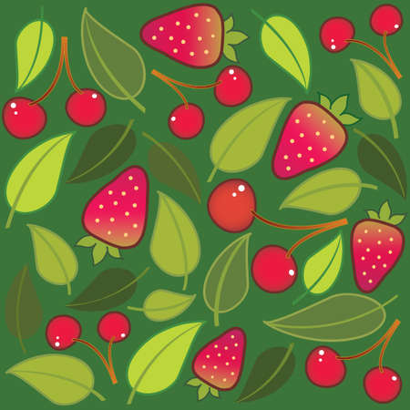 background with strawberries and cherries Vector