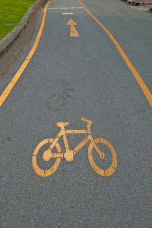 Bicycle road sign painted on the pavement