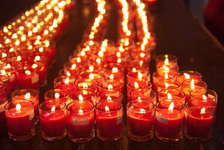 Candles at temple Stock Photo