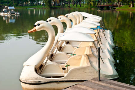 A group of ducks pleasureboat at Lumpini Bangkok Thailand Stock Photo - 12534819