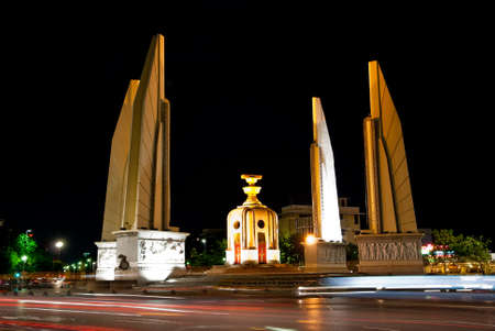 Democracy monument at night in Bangkok  photo