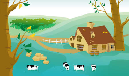 Cartoon illustration of village and cows on a farm