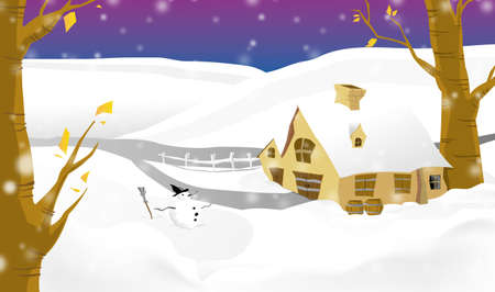 village winter illustration Stock Illustration - 13135599