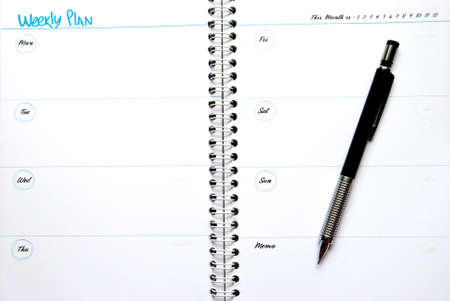 Organizer and Pencil - Business planning Standard-Bild