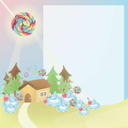 Cute cartoon country house with space for your text Stock Vector - 15984911