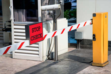 Automatic vehicle Security Barriers with security camera  Stock Photo