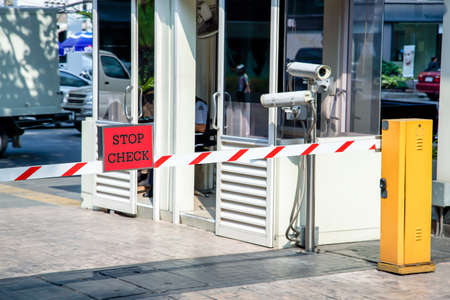 road barrier: Automatic vehicle Security Barriers with security camera  Stock Photo