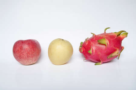 red apple ,Chinese pear and Dragon fruit  isolated on white background  Stock Photo