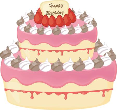 vector birthday cake with strawberry Stock Vector - 18524165