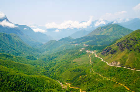 High angle winding road in mountain at sapa ,vietnam