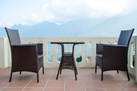 beautiful view surround by mist and mountains with empty table