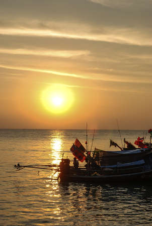 Sunset at the fisherman village on the Samui, Thailand