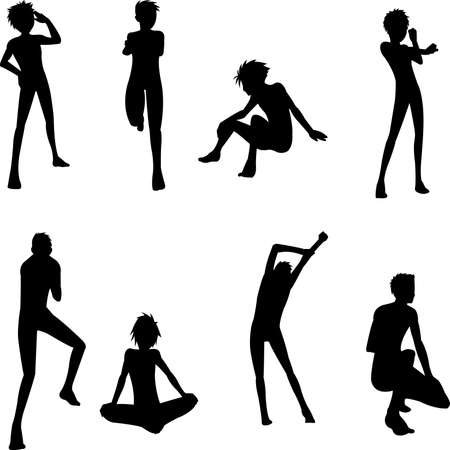 physically: Young people pose  silhouettes Illustration