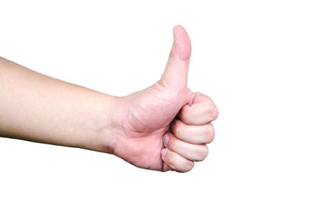 concede: Side view of a person s hand making the thumbs up sign