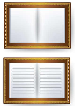 open diary on white background