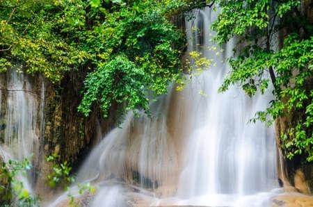 Forest Stream and Waterfall in kanchanaburi, Thailand Stock Photo