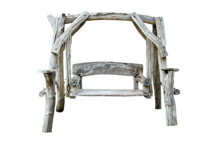 Old wooden chair isolated over white