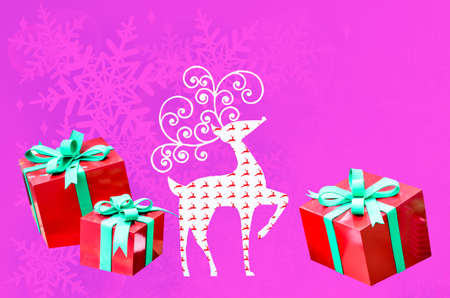 reindeer christmas with gift box with space for your text isolated on white background photo