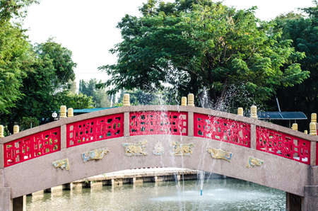 red bridge and water at china temple photo
