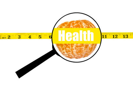 waist: Magnifying glass showing orange with health word and measure waist Stock Photo