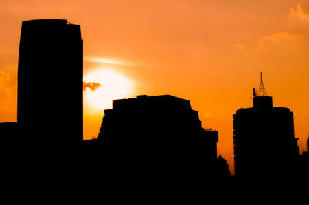 Backlight of a building city in a beautiful sunset